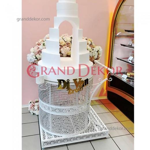Beyaz Düğün Pasta Servis Arabası