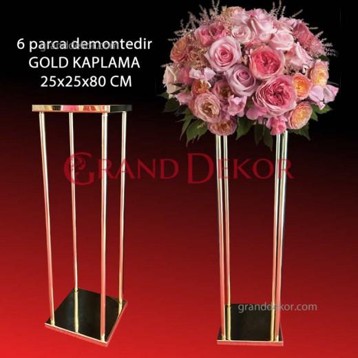 Kare Kolon Düğün şamdanı Gold Kaplama