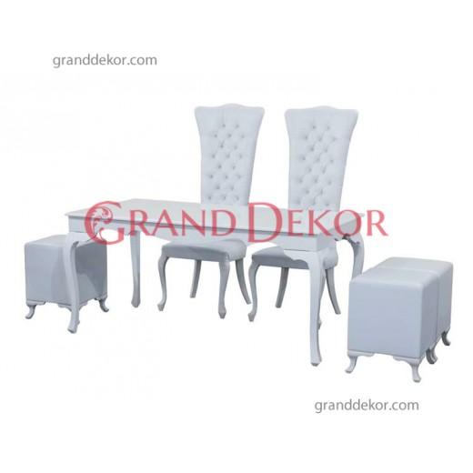 beyaz lake masa,kapitoneli sandalye,yemek masası,düğün masası kiralama