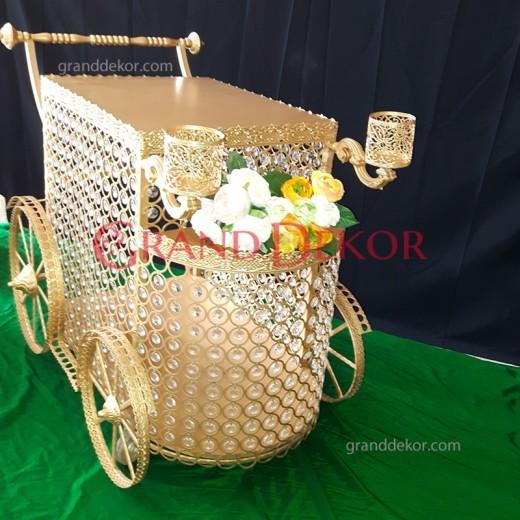 Kristal Taşlı Pasta Servis Arabası