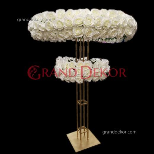 Çift Katlı Metal Çiçek Demiri Düğün Şamdanı