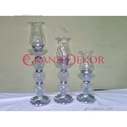 3lü Dekoratif Fanuslu Cam Şamdan