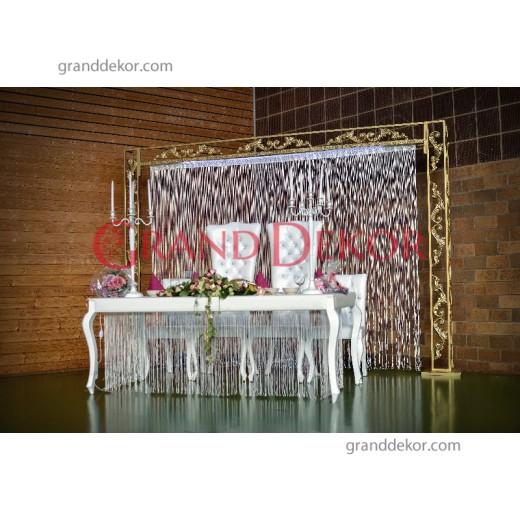 Ferforje  Gold  Düğün Masası Arka Fon
