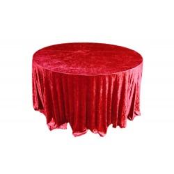 Yuvarlak Masa Örtüsü Kadife Kırmızı