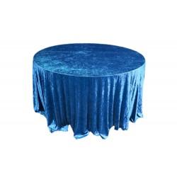 Yuvarlak Masa Örtüsü Kadife Mavi