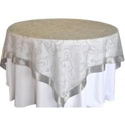 Yuvarlak Masa Örtüsü Dantel Kapak Gümüş