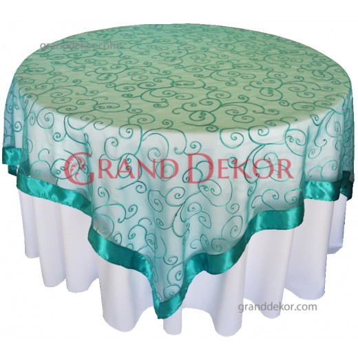 Yuvarlak Masa Örtüsü Dantel Kapak Jade