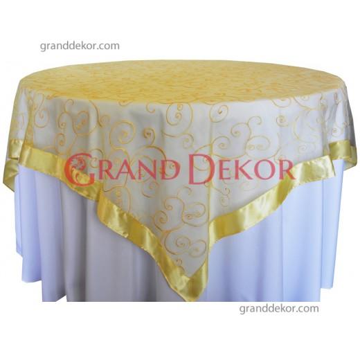Yuvarlak Masa Örtüsü Dantel Kapak Sarı
