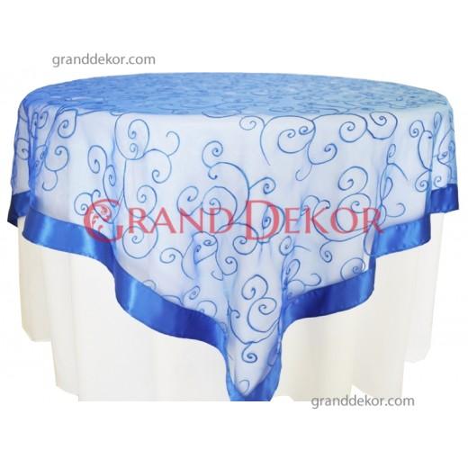 Yuvarlak Masa Örtüsü Dantel Kapak Mavi