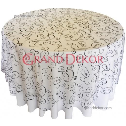 Masa Örtüsü Beyaz  Siyah Dantel Kapak